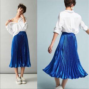 Anthropologie Sapphire Blue Pleated Metallic Skirt